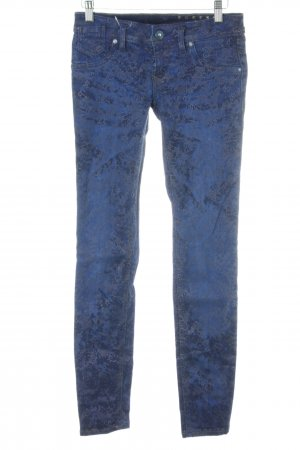 Freesoul Röhrenjeans blau Allover-Druck Casual-Look