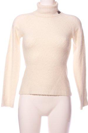 Freesoul Jersey de cuello alto crema estampado temático look casual