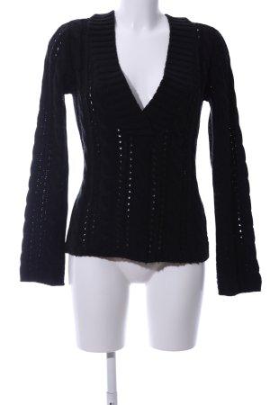 Freesoul V-Ausschnitt-Pullover schwarz Zopfmuster Casual-Look