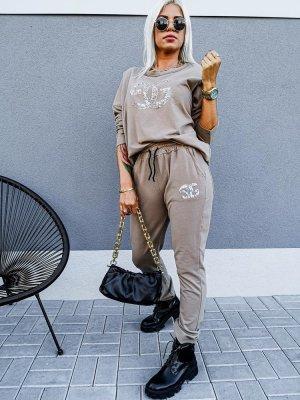 Woven Twin Set grey brown-beige cotton