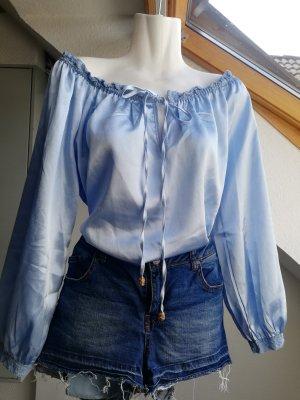 Sheilay Glanzende blouse azuur