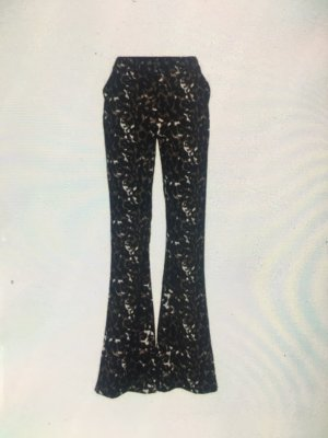 Heine Pantalón de lino negro-blanco puro