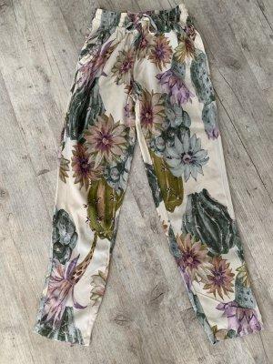 Freizeithose/Baggy - Größe 34 XS/S - Cremeweiß/Print - Flower