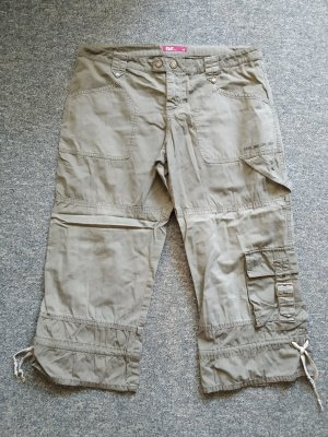 QS Style Spodnie Capri szaro-brązowy-ochra Tkanina z mieszanych włókien