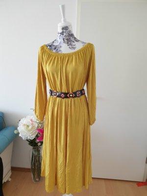 Desigual Robe mi-longue jaune citron vert acétate