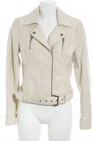 French Connection Bikerjacke creme Punktemuster Casual-Look