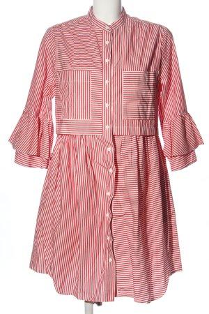 French Connection Hemdblusenkleid rot-weiß Streifenmuster Casual-Look
