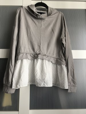 French Connection Kapuzenpullover L grau weiss