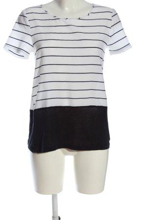 French Connection Kurzarm-Bluse weiß-schwarz Streifenmuster Casual-Look