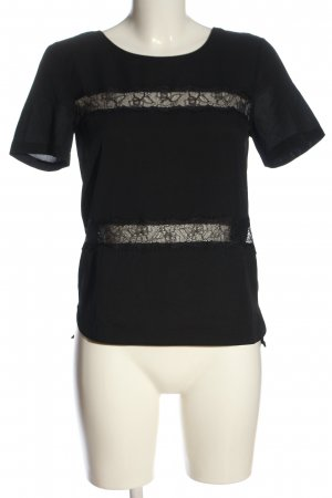 French Connection Short Sleeved Blouse black striped pattern elegant
