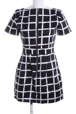 French Connection Kurzarmkleid schwarz-weiß Karomuster Elegant