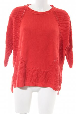 French Connection Kurzarmpullover rot Zopfmuster Casual-Look