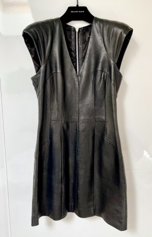 French Connection Leather Dress black-silver-colored leather