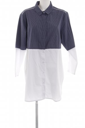 French Connection Long-Bluse blau-weiß Karomuster Casual-Look