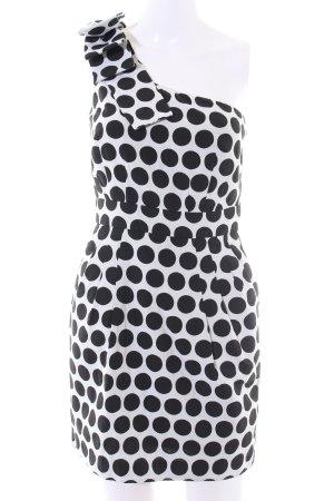 French Connection One-Shoulder-Kleid weiß-schwarz Punktemuster Elegant