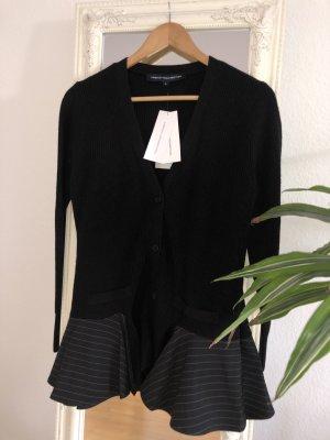 FRENCH CONNECTION Pinstripe Cardigan 78ICH - Knitwear - schwarz mit Schößchen - Größe M - NEU mit Etikett