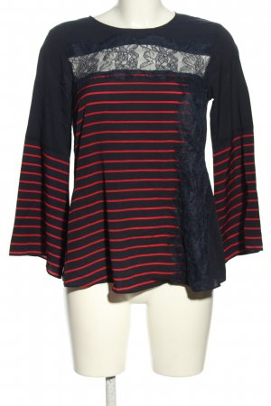 French Connection Spitzenbluse schwarz-rot Streifenmuster Casual-Look