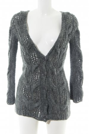 French Connection Strick Cardigan hellgrau Zopfmuster Casual-Look