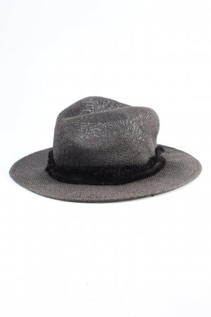 French Connection Straw Hat light grey-black flecked casual look