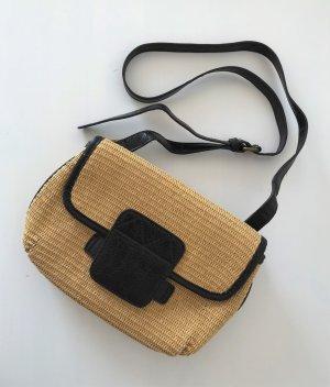 French Connection Tasche Crossbody Basttasche Stroh Leder Umhängetasche Clutch