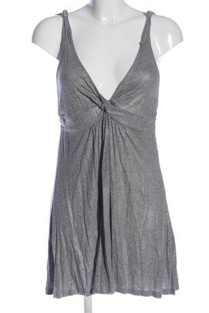 French Connection Blusa de túnica color plata moteado look casual