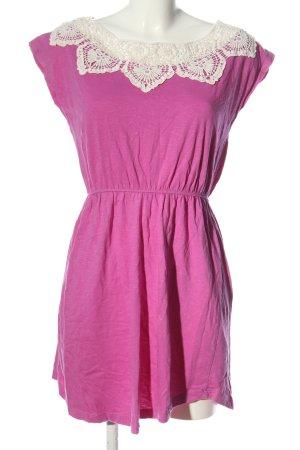 Fresh made Abito linea A rosa-bianco sporco stile casual
