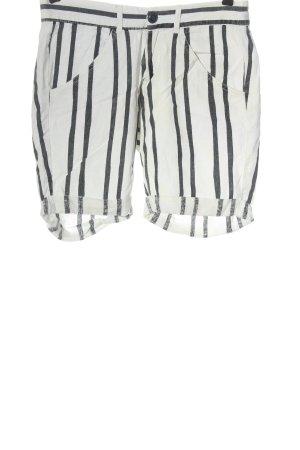 Fresh made Bermudas natural white-black striped pattern casual look