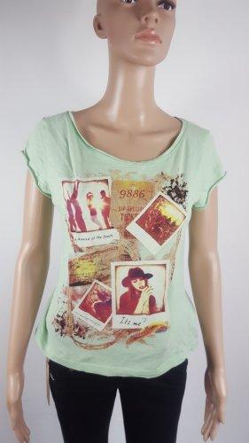Fresh Made Damen Shirt mit Print asymetrisch mintgrün Größe S