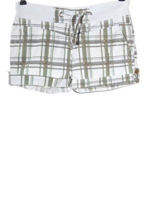 Fresh made Krótkie szorty biały-khaki Na całej powierzchni W stylu casual