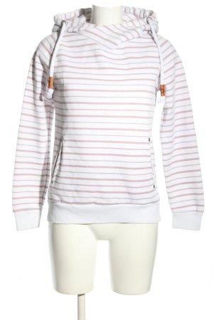Fresh made Kapuzensweatshirt weiß-creme Streifenmuster Casual-Look