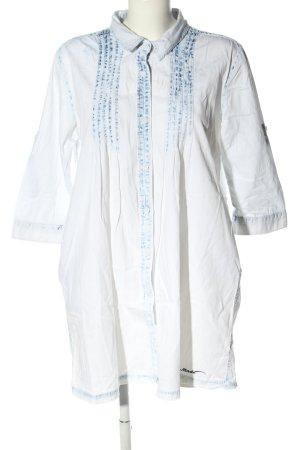 Fresh made Long-Bluse weiß-blau Casual-Look