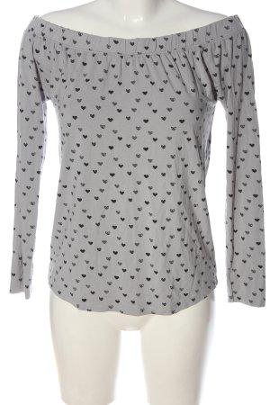 Fresh made Koszulka z długim rękawem jasnoszary-czarny Na całej powierzchni