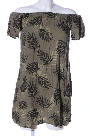 Fresh made schulterfreies Kleid khaki Allover-Druck Casual-Look