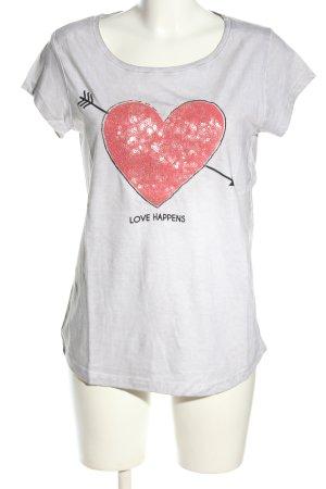 Fresh made T-Shirt hellgrau-pink Motivdruck Casual-Look