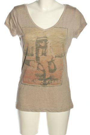 Fresh made T-Shirt wollweiß Motivdruck Casual-Look