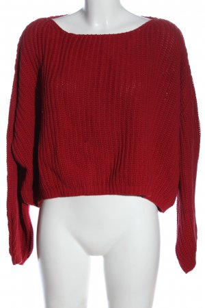 Friday' s Project Sweter oversize czerwony Warkoczowy wzór W stylu casual
