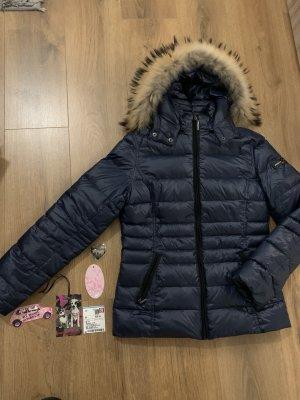 Frieda & Freddies Daunenjacke Jacke blau 38 S Echtfell Etikett