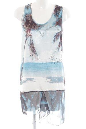 Frieda & Freddies New York A-Linien Kleid türkis-blau Allover-Druck Casual-Look