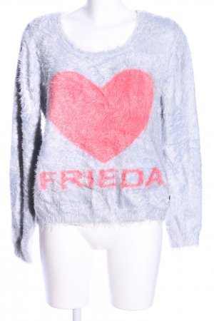 Frieda & Freddies New York Rundhalspullover hellgrau-rot Motivdruck Casual-Look