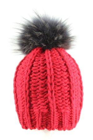 Frieda & Freddies New York Strickmütze rot-schwarz Zopfmuster Casual-Look