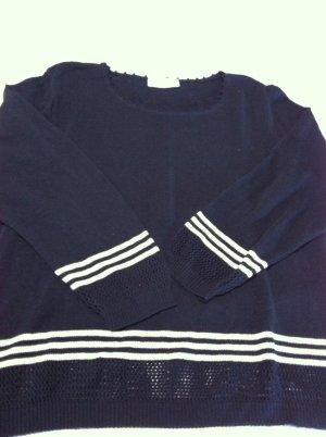 Maglione tradizionale blu scuro-bianco Tessuto misto