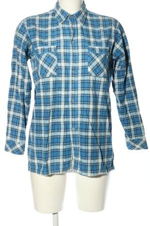 Friendship Camisa de franela azul-blanco estampado a cuadros look casual