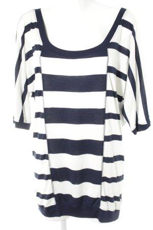 Friendtex Basic Top natural white-dark blue striped pattern casual look