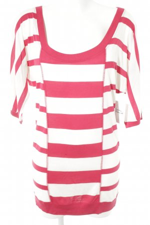 Friendtex Basic Top natural white-red striped pattern casual look