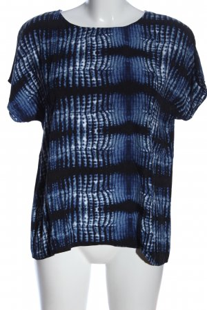 Friendtex Kurzarm-Bluse blau abstraktes Muster Casual-Look