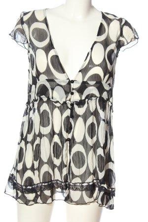 Friendtex Kurzarm-Bluse schwarz-weiß abstraktes Muster Casual-Look
