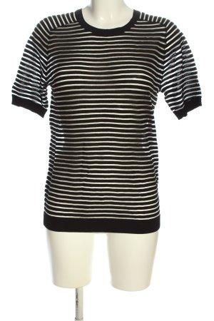 Friendtex Kurzarm-Bluse schwarz Streifenmuster Street-Fashion-Look