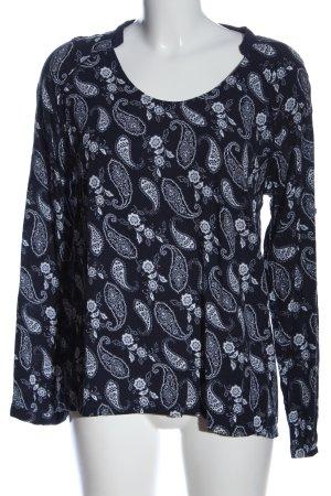 Friendtex Langarm-Bluse blau-weiß abstraktes Muster Casual-Look