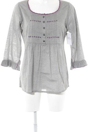 Friendtex Langarm-Bluse grau-dunkelviolett Metallknöpfe