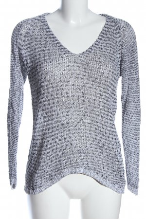 Friendtex V-Neck Sweater white-black weave pattern casual look